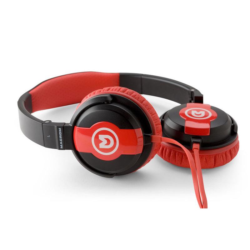 MACROM JOY30.BR Cuffie On Ear a filo con microfono (colore nero-rosso) a87174cfbb30